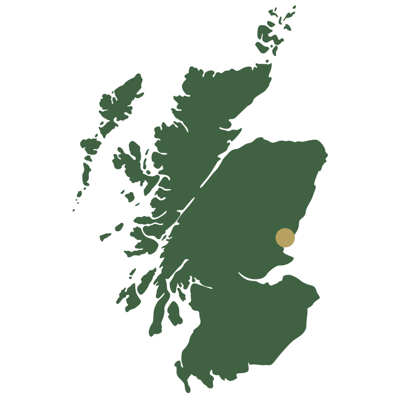 Map of Scotland showing Dundee and Angus
