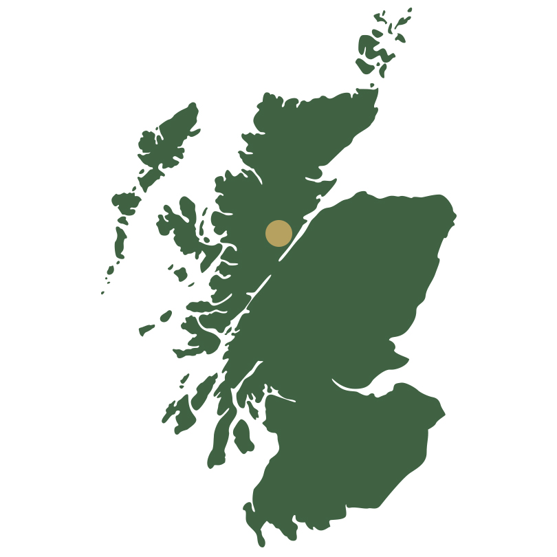 Map of Scotland showing the Highlands