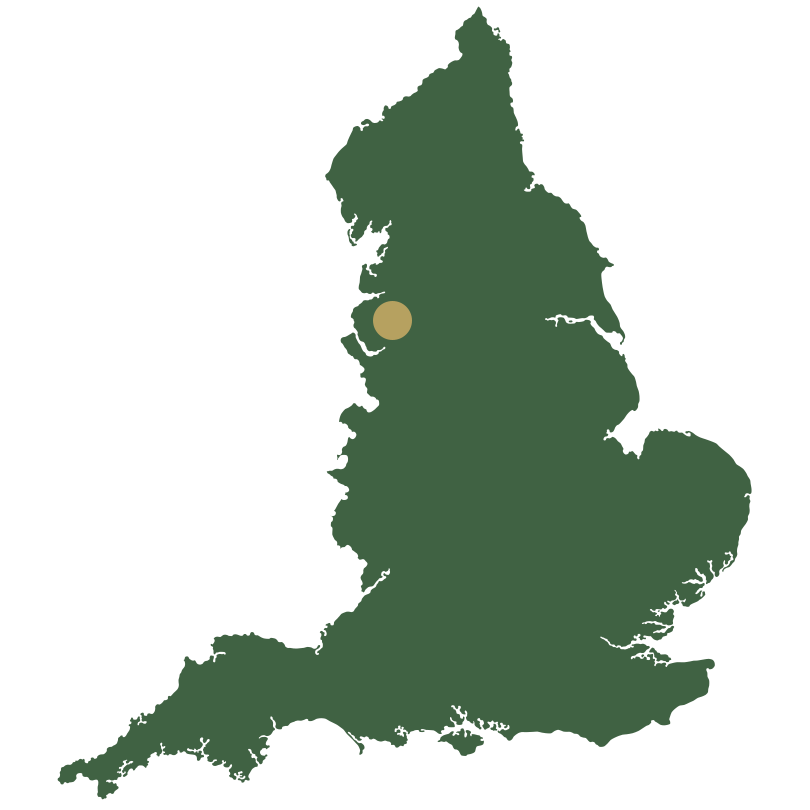 Map of England showing North West